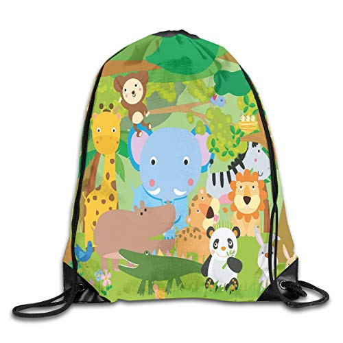 GONIESA Fashion New Drawstring Backpacks Bags Daypacks,Funny Playful Jungle Animals Wildlife Mammals Trees Flowers Colorful Cute Nature,5 Liter Capacity Adjustable for Sport Gym Traveling -