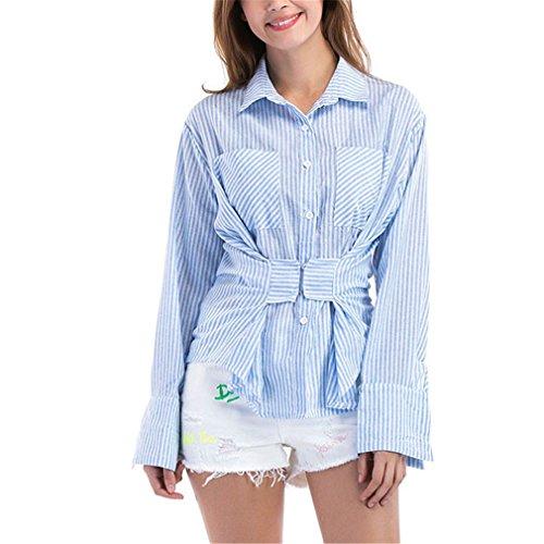 Camisas Mujer Manga Larga Rayas Azules Camisas Mujer