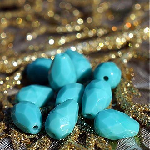 Opaco Turchese ceca a Goccia Sfaccettato Perle di Vetro ceco Sfaccettata, Perle di Vetro Strappo Turchese Fuoco Lucido ceca Perle 10mm x 7mm 6pc
