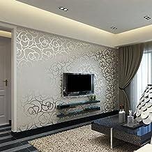 Hanmero 10m 3D Romántico Moderno Diseño Flores Rayas Papel Pintado Papel de Pared TV Telón de Fondo/ Dormitorio/ Hotel/Restaurante,Color Gris Plateado