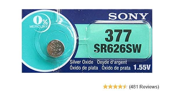 d5b2b75793 1 x Sony 377 SR626SW Silver Oxide 0% Mercury Watch: Amazon.co.uk:  Electronics