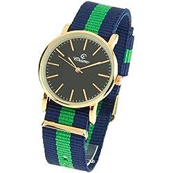 montre-concept-Multi-Coloured Round Colour Rose Gold Black Dial Nylon Bracelet Men's Analogue Watch-mab-1-0087