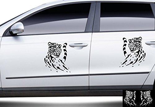 2 Leopard-Aufkleber zur Dekoration von Autos, Motorrädern, Fahrrädern und allen anderen Fahrzeugen; aus 18 Farben wählbar; Schwarz