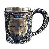 WJVCZ 2019 Neue Hochwertige 3D Wolf König Kopf Muster Becher Retro Harz Edelstahl Kaffee Teetasse 450 ml