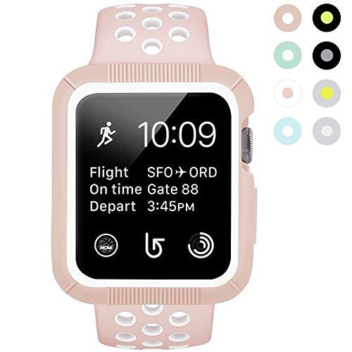 BRG Apple Watch caso con banda, A prueba de golpes carcasa con silicona deporte iwatch banda para Apple reloj serie 2serie 1Nike + deporte y edición