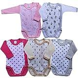 MEA BABY Unisex Baby Langarm Body aus 100% Baumwolle im 5er Pack, Baby Langarm Wickelbody mit Print, Baby Langarm Wickelbody für Mädchen, Baby Langarm Wickelbody für Jungen. (56, Girl)
