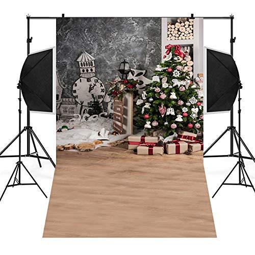 kingko 3x5FT Weihnachts Hintergründe Fotografie Winter Wooden Glitzer Fotohintergrund Weihnachten Christmas Photoshooting Backdrop Backdrops Schneemann Vinyl Foto (A)