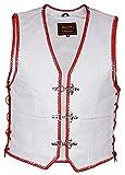 Weiße Lederweste mit roten Kordeln