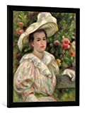 Gerahmtes Bild von Auguste Renoir Junges Mädchen vor Blumen oder Frau mit weißem Hut, Kunstdruck im hochwertigen handgefertigten Bilder-Rahmen, 50x70 cm, Schwarz matt