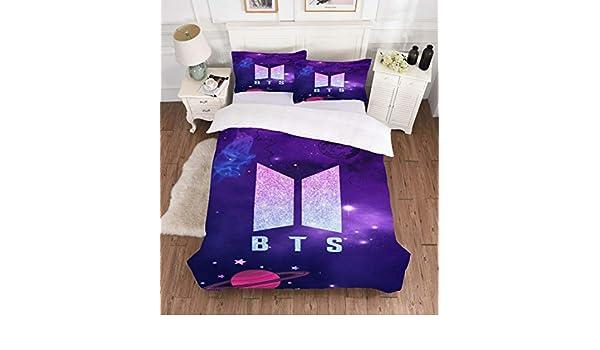 Jnsio BTS Linge De Lit Housse De Couette Bleu Violet BTS
