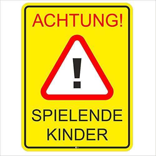 Hinweis-Schild Achtung spielende Kinder I Größe 30 x 40 cm I Straßen-Warnschild Spielstraße Spielplatz I Vorsicht Kids langsam fahren I hin_400