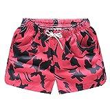 Rocita Damen Mädchen Strand Shorts, Kurze Badeshorts Badehose Bunte Schnelltrockende Beachshorts für Frauen, Rot, L
