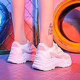 Cranky Orange, Zapatillas Gruesas de Mujer, Zapatos de Plataforma para Mujer con Cordones, Zapatos vulcanizados Rosa para Mujer, Zapatillas de Mujer, Zapatos para papá, Blanco, 8
