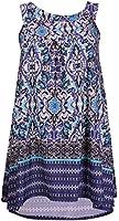 Womens Plus Size Floral Print Ladies Sleeveless Dipped Hem Round Neckline Long Swing Vest Top