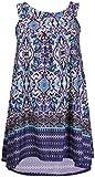 Funky Boutique Débardeur imprimé Floral pour femme Ourlet asymétrique encolure ronde Long Swing Vest Top - Bleu - 46
