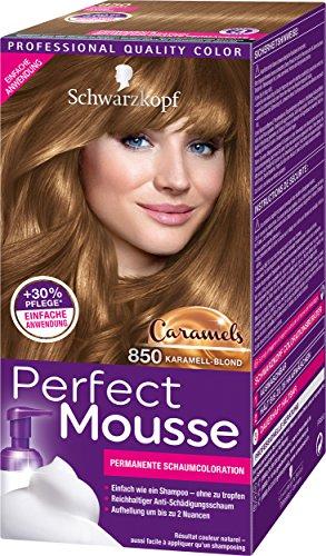 Perfect Mousse Permanente Schaumcoloration 850 Karamell-Blond Caramels, 1er Pack (1 x 93 ml)