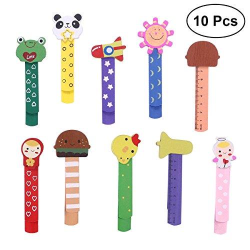 10 marcapáginas para niños de Nuolux, con regla de madera, perfecto como...