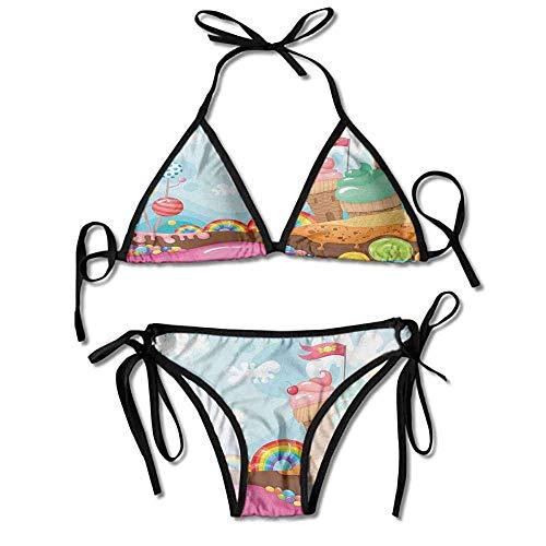 Hot Summer Women's Bikini,Candies Lollipop Trees and Sexy Bikini 2 Pieces