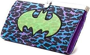 DC COMICS BATMAN Groovy Bat Girls Purse with Green Logo - Purple/Blue