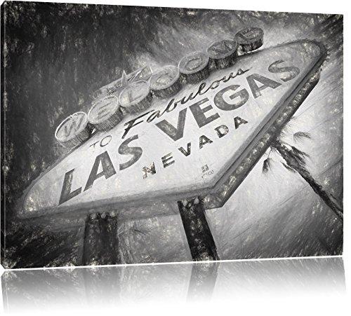 Las Vegas Ortseingangsschild im Retro-Look Format: 120x80 auf Leinwand, XXL riesige Bilder fertig gerahmt mit Keilrahmen, Kunstdruck auf Wandbild mit Rahmen, günstiger als Gemälde oder Ölbild, kein Poster oder Plakat
