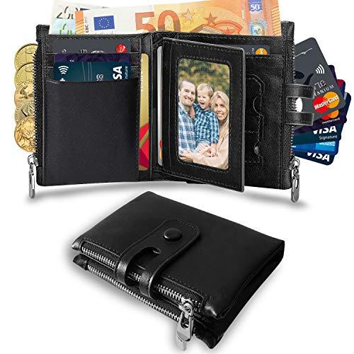Wemk Cartera Hombre con Cremallera y Ranuras para Tarjeta Monedero Billetera de Cuero Auténtico Doble Protección Antirrobo con Material de Bloqueo RFID y Extra RFID Tarjeta Negro