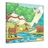 Kunstdruck - Kinderbild - Waldtiere II Cartoon - Fuchs, Elch und Bär - 40 x 40 cm - Bilder als Leinwanddruck - Wandbild von Bilderdepot24 - Kinder - Natur - Wiese - Tiere des Waldes