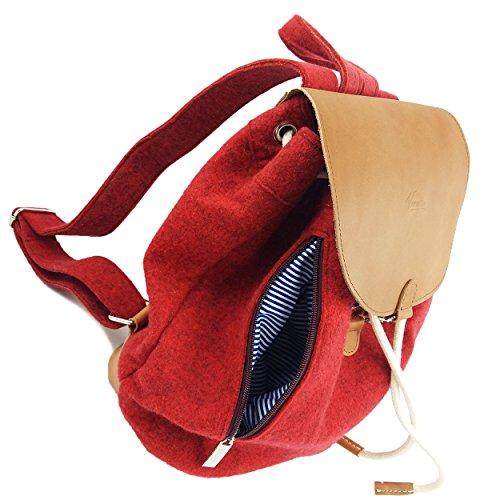 d1508126712fe ... Venetto Designer Rucksack aus Filz und Leder Elementen sehr leicht  backpack unisex (Grau) Rot ...