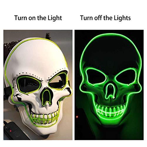 Pangyan990 Leuchtmaske, EL Glowing Wire Halloween Kostüm Schädel Horror Ghost Fluoreszierende Vollgesichts Für Party Cosplay Karneval Performances Geschenk