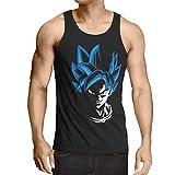 style3 Super Goku Blue God Modus Herren Tank Top, Größe:L, Farbe:Schwarz