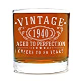 Spotted Dog Company Vintage 1940 Etched 11oz Whiskey Rocks Glass - 80th Birthday Aged to Perfection - 80 Years Old Gifts Bourbon Scotch Lowball Old Fashioned