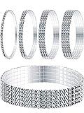 Yaomiao 5 Pièces Strass Bracelet Cheville Extensible Bracelet en Cristal Bracelet...