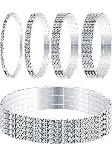 rass Strecken Armband Fußkettchen Kristall Armband Silber Tennis Armband Hochzeit Schmuck für Damen ()