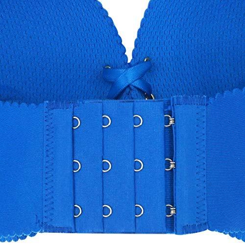 Aivtalk Damen-BH, Push-Up-BH, ohne Bügel, gefüttert, nahtlos, für jeden Tag - Blau - Etikett 32B= 65B - 6
