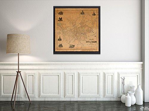New York Karte Company (TM) 1851Map|Essex|Salem der Stadt Salem, Mass: von Eine Tatsächliche Survey Relief Gezeigt, von Hachures|Historic Antik Vintage Reprint|Ready Zum Rahmen