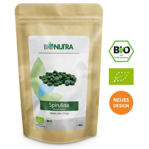 BioNutra Spirulina-Presslinge Bio 500 g, 2000 x 250 mg Tabletten, ohne Zusätze, rückstandskontrolliert, aus kontrolliert biologischer Kultur