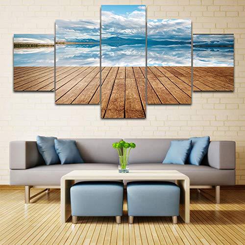 HQATPR Leinwand Malerei 5 Panel/Pieces Hd Print Malerei Blue Sky Seascape Moderne Leinwand Kunst Poster und Print nordischen Kunstwerk Wandbilder Chart Wall Decor Größe mit Rahmen -