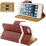 Rocina 2-Colour Tasche in braun für Apple iPhone 5 / 5S mit Aufstellfunktion