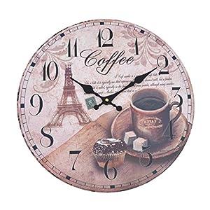 Wanduhr - Coffee - Holz Küchenuhr mit großem Ziffernblatt aus MDF, Retro Uhr im angesagtem Shabby Chic Design mit leisem Quarz-Uhrwerk, Ø: 32 cm