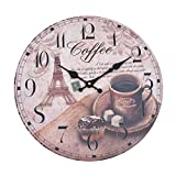 Wall Clock - Coffee - Wooden kitchen clock with large dial made of MDF, Retro clock in trendy shabby chic design with quartz movement mechanism, Ø: 32 cm