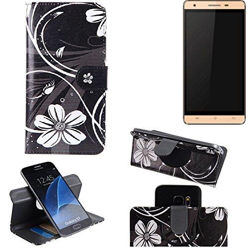 K-S-Trade Schutzhülle für Cubot H2 Hülle 360° Wallet Case Schutz Hülle ''Flowers'' Smartphone Flip Cover Flipstyle Tasche Handyhülle schwarz-weiß 1x