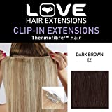 Love Hair Extensions Thermofibre Clip In Extensions Silky Straight Colour 2 Dark Brown 18 -inch