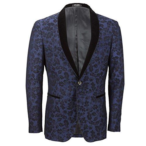 Xposed Mens Vintage Floral Paisley Print Dinner Tuxedo Suit Jacket Black Velvet Shawl Lapel Evening Blazer
