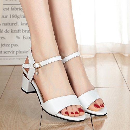 XY&GKDie Dünnen Sandalen Damen Sommer Schnalle Sandalen Schuhe im Sommer mit groben All-Match Sommer Sandalen Frauen Sommer, komfortabel und schön 36 white