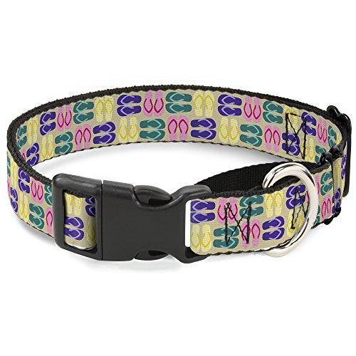 Buckle Down Flip flops4 Sand/Multi Farbe Martingale Hundehalsband, 2,5 cm Wide-fits 27,9-43,2 cm Neck-medium