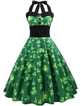 LvRao Donna Elegante Vestito anni '50 Cerimonia Cocktail Floreale Abito in A-Line Chic Halter Stile Vintage Swing...