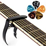 Guitar Capo Trigger Quick Change Capos with Guitar Picks for Bass Acoustic Classic
