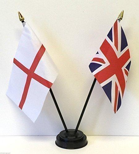 Tisch Flaggen Set England und Vereinigtes Königreich Doppel Freundschaft + Sockel -