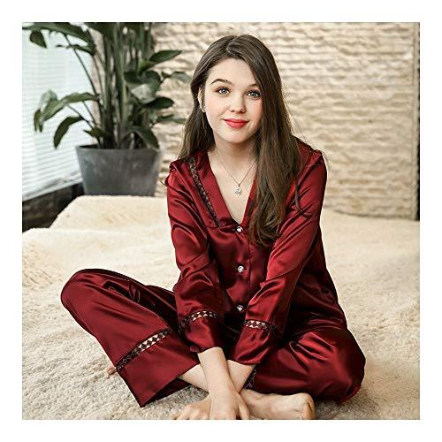 HAOLIEQUAN Frühling Satin Pyjamas Frauen Zwei Stücke Set Home Suit Voller Ärmel Seide Hosen Pyjama Set Damen V-Ausschnitt Nachtwäsche, Weinrot, L