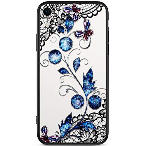 IKASEFU Schutzhülle für iPhone XR, kristallklar, stoßfest, bunt, glänzende Strasssteine, süße Spitze, Blume, ultradünn, TPU-Silikonprägung Blue pansy -
