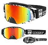 TWO-X Rocket Crossbrille Crush schwarz Weiss Glas verspiegelt Iridium MX Brille Nasenschutz Motocross Enduro Spiegelglas Motorradbrille Anti Scratch MX Schutzbrille Nose Guard